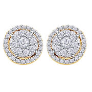 1/2ct Diamond Round Cluster Halo Stud Earrings 14k Yellow Gold Christmas Special