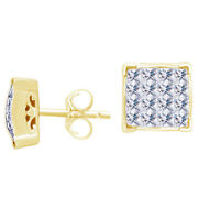 1-1/2 Ctw Diamond Square Cluster Stud Earrings 14k Yellow Gold Christmas Special