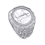 Menand039s 22 Mm Nugget Coin Ring 14k White Gold