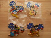 Set Of 4 Patriotic Mickey Mouse Head Pins 2002 Le3000 American Flag Pluto Goofy