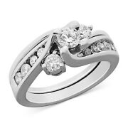 Certified Diamond Engagement Ring Bridal Set In 14k White Gold Christmas Special
