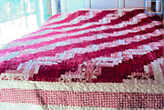 Queen Handmade Quilt- Red And White Log Cabin Quilt -christmas Handmade Quil