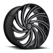 24x9 Dub S239 Delish 5x115/5x120 Et15 Black And Milled Wheels Set Of 4