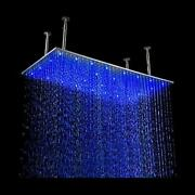 Ceiling Mount Rainfall Led Shower Head And Arm 24x48 Brushed Stainless Steel