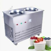 Double Pan Fried Ice Cream Machine Thailand Fruit Ice Cream Roll Maker 220v Y Vr