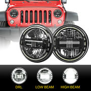 Pair 7 Round Led Headlights Halo Angle Eyes For Jeep Wrangler Jk Hummer H1 H2
