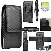 Leather Cell Phone Holster Pouch Case With Belt Clip Loop For Iphone Samsung