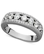 1.00 Cttw Certified Diamond Band Ring In 14k White Gold Christmas Special
