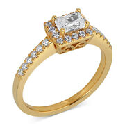 5/8 Ct Diamond Emerald Engagement Ring In 14k Yellow Gold For
