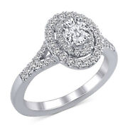 1 Ct Diamond Oval Halo Ring In 18k White Gold Christmas Special