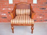 Very Decorative Vintage Rattan Sides And Back Upholstery Arm Chair