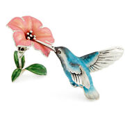 Saturno Sterling Silver And Enamel Birds - Humming Bird With Flower, Blue