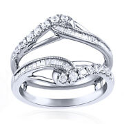 5/8 Ct Tw Natural Diamond Enhancer Solitaire Ring Guard 14k White Gold 1699