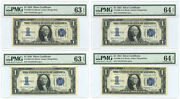 Set Of 4 Consecutive 1934 1 Silver Certificates Pmg Choice Unc 63 And 64 Epq