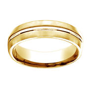 14k Yellow Gold 6mm Comfort Fit Center Cut Carved Design Band Ring Sz 5