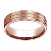 14k Rose Gold 6mm Comfort Fit Satin Parallel Groove Carved Band Ring Sz 6