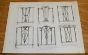 1802 Antique Furniture Print///backs For Painted Chairs
