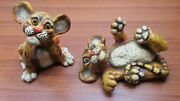 Vintage Universal Statuary Tiger Cats Cubs Chalkware Statues Marked 1975 088 089