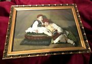 Unique Early Century Colored Frame Portrait Greek Tsolias And Shepherdess