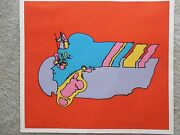 Peter Max Remembering The Flight 1972 Hand Signed And Numbered Serigraph Vintage