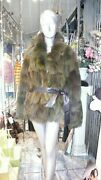 Gorgeous Hard To Find Moss Green Fox Fur Coat Oversized In Style Retails 5995.