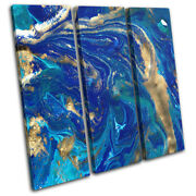 Marble Effect Design Blue Gold Abstract Treble Canvas Wall Art Picture Print