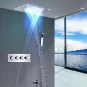 Led Shower Set Ceiling Mount 4 Rainfall Mode 14x20 Polished Stainless Steel