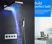 Wall Mount 9x22 Rectangle Led Rainfall Thermostatic Shower System Mixer Tap
