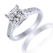0.68ct Simulated Ideal Radiant Diamonds Cathedral Ring 18k White Gold