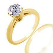 14k Yellow Gold 1.33 Ct Ideal Cut Round Diamond Solitaire Cathedral Ring