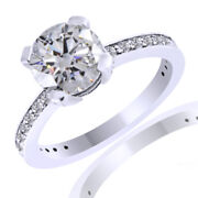 1.23ct Round Diamonds Classic Solitaire With Accents Ring 18k White Gold