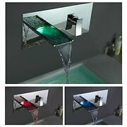 Chrome Led Waterfall Colors Changing Bathroom Basin Mixer Sink Faucet 760