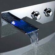 Color Changing Led Waterfall Bathroom Wall Mount Faucet Chrome Finish Hdd756