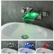 Chrome Led Waterfall Colors Changing Bathroom Basin Mixer Sink Faucet Hdd757