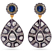 2.05cts Rose Antique Cut Diamond Sapphire Studded Silver Vintage Earring Jewelry