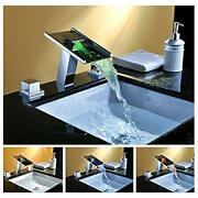 Chrome Led Waterfall Colors Changing Bathroom Basin Mixer Sink Faucet Hdd746