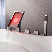 Chrome Led Waterfall Bathroom Sink Faucet Sink Mixer Tap Deck Mounted