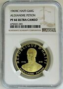 1969 Gold Haiti 935 Minted 60 Gourdes Alexandre Petion 9 Ngc Pf 66 Ultra Cameo