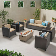 Mignon Outdoor 7 Seater Wicker Chat Set With Fire Pit