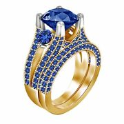 3.50 Ct Blue Sapphire Engagement Ring Wedding Band 10k Yellow Gold Over