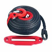 1/2x92ft Synthetic Winch Rope Cable Sleeve 22000lbs+10 Aluminum Hawse Fairlead