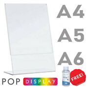 Menu Holder Display Stands Lean Back A4 A5 A6 Crystal Clear. Great Price