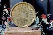 Large Middle Eastern Brass Charger Tray Asian Antique Vintage