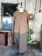 Antique 1920s Brown Tweed Dress Wool Houndstooth Red Glass Buttons Midi Vintage