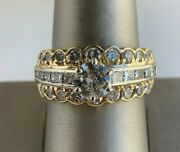 Retro-style Engagement Ring With Natural Round Diamond App. 0.90 Ct In Center