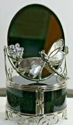 Antique Victorian Silver Footed Ring Jewelry Display Box With Mirror