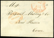 1849 Stampless Fls, Swarts' Post Office Chatham Square, 2 H/s's, New York 5¢ Cds
