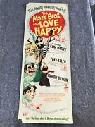 Love Happy 1949 Orig Insert Movie Poster 14x36 Rolled Rare Marx Brothers G/vg