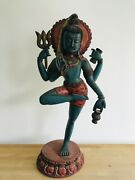 """Antique Newari Wood Carving Of Shiva Lord Of The Dance 22"""" Hindu Nepal 20thcent"""
