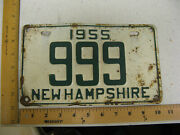 1955 55 New Hampshire Nh License Plate 999 Nice Low Tripple Rare